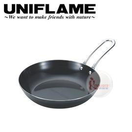 探險家戶外用品㊣666357 日本製 UNIFLAME 小黑鍋單入163mm 餐廚具 黑皮鐵鍋 平底鍋 烹調鍋 煎鍋炒鍋