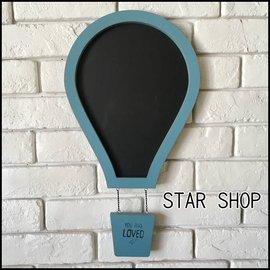 zakka雜貨 北歐工業風LOFT彩色 壁掛式熱氣球造形黑板招牌門牌 DIY 仿舊復古風格