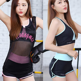 三件式休閒短褲運動套裝E311-W16009(無鋼圈女運動服瑜伽服瑜伽背心瑜珈服套裝.居家健身衣健身服跑步服運動內衣運動背心.韻律衣韻律服
