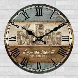 zakka雜貨 Vintage鄉村風 仿舊復古門板風格DREAM圖案掛鐘 時鐘 圓鐘 鐘