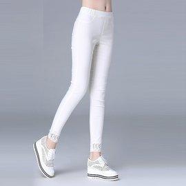 美之札^~6987~E^~中大 ^~ 百搭鬆緊鏤空蕾絲腳圍長褲^~