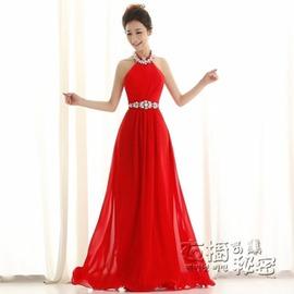 長裙禮服 紅色結婚禮服新娘敬酒服晚禮服宴會演出主持人禮服長款igo