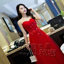 紅色修身顯瘦結婚長款禮服新娘敬酒服蕾絲宴會晚禮服igo