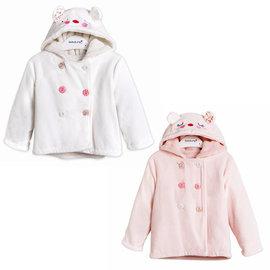英國 Minoti 小老鼠臉內絨毛天鵝絨排釦連帽外套 ~ 粉紅  白色 23165