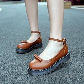 夏日繫復古圓頭英倫學院風鞋鬆糕厚底牛津女蝴蝶結學生娃娃小皮鞋