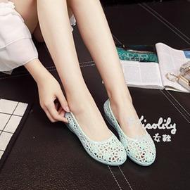 石紋洞洞涼鞋 平跟女士鳥巢鞋