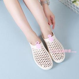 夏鏤空洞洞涼鞋鳥巢沙灘糖果色塑料一腳蹬女鞋