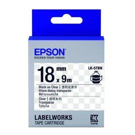 EPSON C53S655408 LK~5TBN透明系列透明底黑字標籤帶^(寬度18mm^