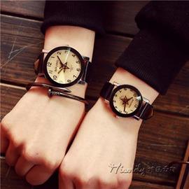 潮流 手錶女潮男 五角星轉盤石英錶 皮帶錶