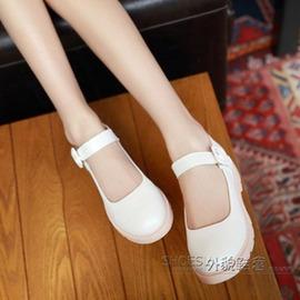 學院風 圓頭百搭平底厚底小白單鞋聚悠美小清新搭扣小白鞋