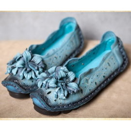 原創 民族風女鞋真皮淺口軟底牛皮平底單鞋花朵T15ADX38801淺藍^(38^)半價