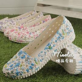 小碎花塑料涼鞋平底護士涼鞋洞洞鞋