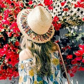 彩虹流蘇碎邊女夏天沙灘帽 拉菲草帽子遮陽帽出游禮帽韓國草帽太帽