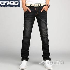 青年黑色男士牛仔褲男修身青少年直筒寬鬆長褲子男褲男 潮
