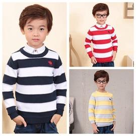 男童毛衣純棉圓領裝裝中大童兒童條紋套頭小孩打底針織衫
