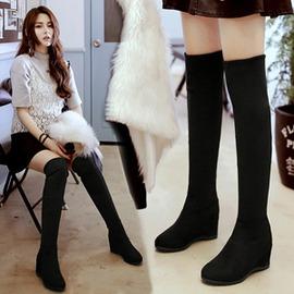 高跟內增高膝上靴高筒長靴彈力絨面多穿坡跟女靴igo