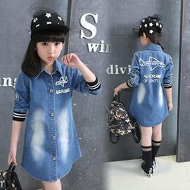 女童牛仔外套 中大童上衣中長款兒童牛仔風衣