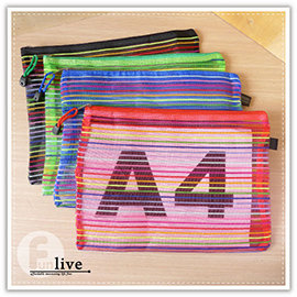 【Q禮品】A3062 A4條紋文件袋/條紋文件夾/拉鍊文件袋/尼龍收納袋/條紋網 資料袋/A4資料夾/A5/A6/收納包