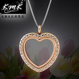精美大方KMK鈦鍺 ~珍藏^(玫瑰金^)~心形~透明夾層相框~項鍊