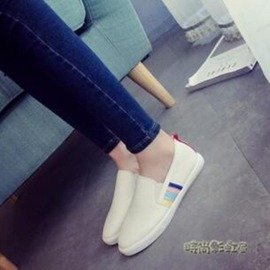 平底休閒鞋單鞋樂福鞋 白色板鞋潮( 只有一件喔)30