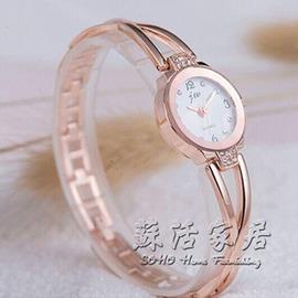 女錶手鐲手鍊錶女士時裝鋼帶機械石英錶水鑽學生防水手錶女 igo