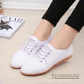 小白鞋女鞋繫帶小皮鞋牛津鞋韓國休閒平底單鞋防滑女鞋