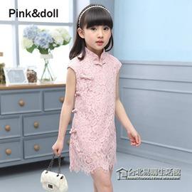 中國風女童 旗袍 蕾絲淑女范旗袍裙兒童短袖古裝禮服