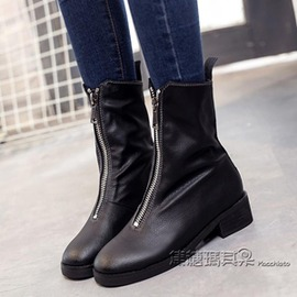 春秋guidi后拉鏈短靴復古褶皺倒靴馬丁靴女英倫真皮粗跟羊皮單靴