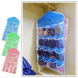 【Q禮品】A3066 可掛式16格收納袋/衣物收納袋/透明懸掛式/門後收納/收納掛袋/襪子收納/衣櫥收納袋/衣架
