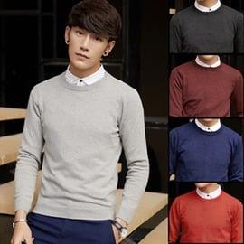 薄款長袖針織衫潮修身毛衣男士純色線衣 男裝圓領線衫青年