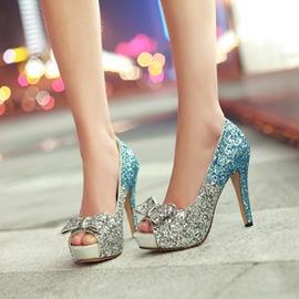 亮片結婚鞋少女蝴蝶結性感夜店魚嘴鞋涼鞋女高跟鞋夏天公主鞋