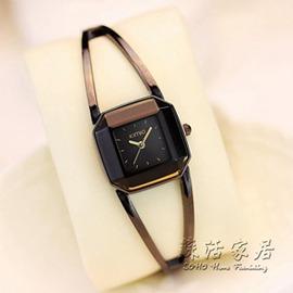 學生時裝女士手錶女潮簡約復古鋼帶方盤防水手鍊手錶 igo