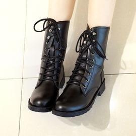 平底馬丁靴女鞋中筒春 粗跟短靴秋天女靴子中靴潮