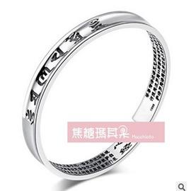 銀手鐲白銀女手環送媽媽足銀手鐲老銀飾鐲子