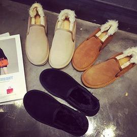 女鞋平底鞋雪地靴子 短靴女大碼毛毛鞋保暖棉鞋面包鞋