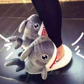 棉拖鞋 鯊魚頭居家棉拖鞋女 防滑厚底立體動物頭毛絨