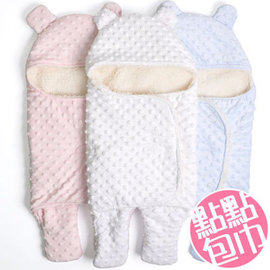 針織純色嬰幼兒點點 加厚保暖嬰兒分腿式睡袋 包巾 點點款【HH婦幼館】