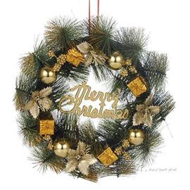 聖誕花環 花圈金色紅色聖誕節聖誕樹掛飾門飾聖誕裝飾品30cmigo