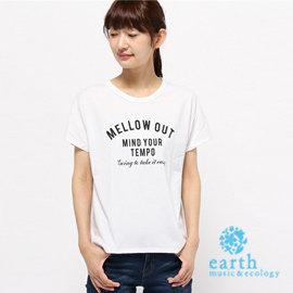 ~ Hot item ~ 素色圓領短袖mellow out字母T恤 ^(18166C500
