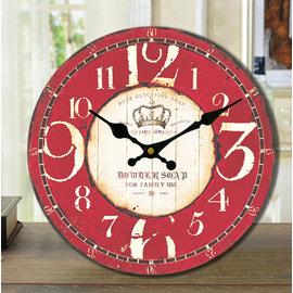 zakka雜貨 Vintage鄉村風 紅色工業LOFT掛鐘 英倫皇冠LONDON大數字時鐘