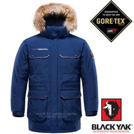 【韓國 BLACK YAK】頂級 Gore-Tex 100%防風防水軍裝帽可拆羽絨外套(中長版鵝絨夾克大衣 JIS90/10)/ 出國洽公 滑雪賞雪/3BYPAW6903 深藍