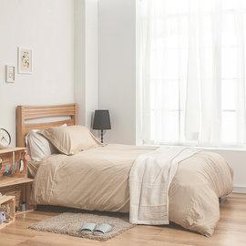 ~戀家小鋪~40支精梳棉素色雙人加大床包被套組~米色