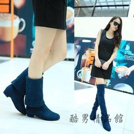 2016 高筒靴女士過膝長靴 彈力絨布靴低跟多穿靴子 酷男 館