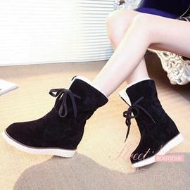 內增高雪地靴女短靴 女鞋加絨中筒靴女式靴子 鞋子厚底學生