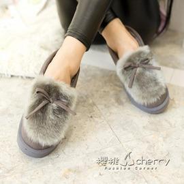 加絨短靴 防滑短筒雪地靴學生棉鞋女平底豆豆鞋潮