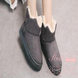 加厚防滑花苞雪地靴女保暖女靴平跟厚底棉鞋短靴平底保暖女鞋