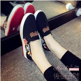 帆布鞋 休閒鞋淺口單鞋低筒布鞋平底女鞋一腳蹬懶人鞋