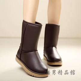 防水雪地靴女中筒 保暖加絨加厚女棉靴厚底防滑皮面短筒靴學生 酷男 館