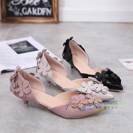 春夏單鞋女中跟細跟包頭涼鞋優雅氣質花朵尖頭鞋 淺口鞋工作鞋