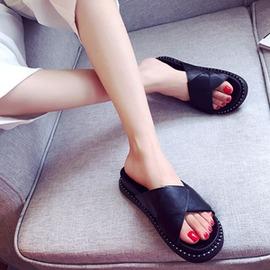 涼鞋 平跟厚底涼拖女鉚釘百搭套腳 露趾鞋 涼拖女